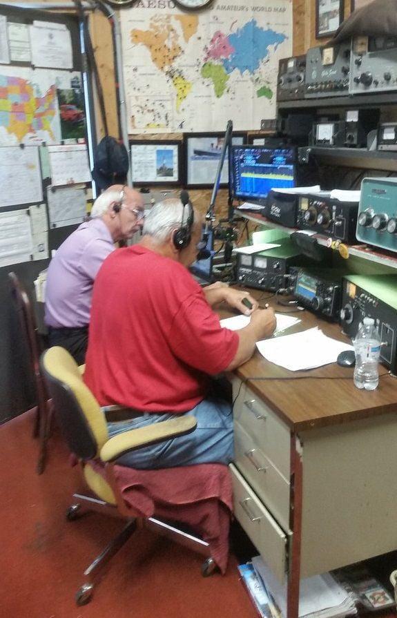 Amateur radio operators check in