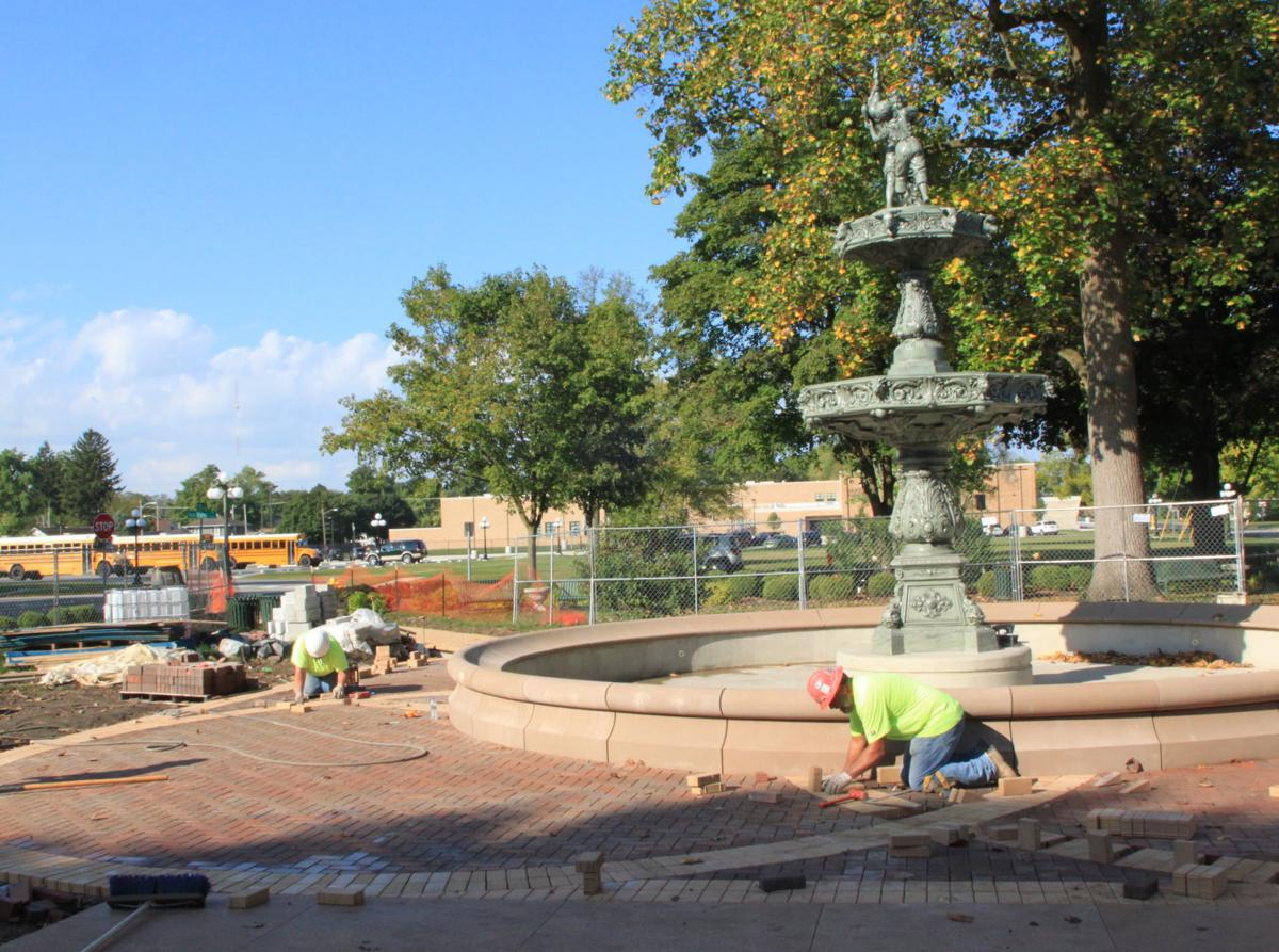 Library fountain brick pavers