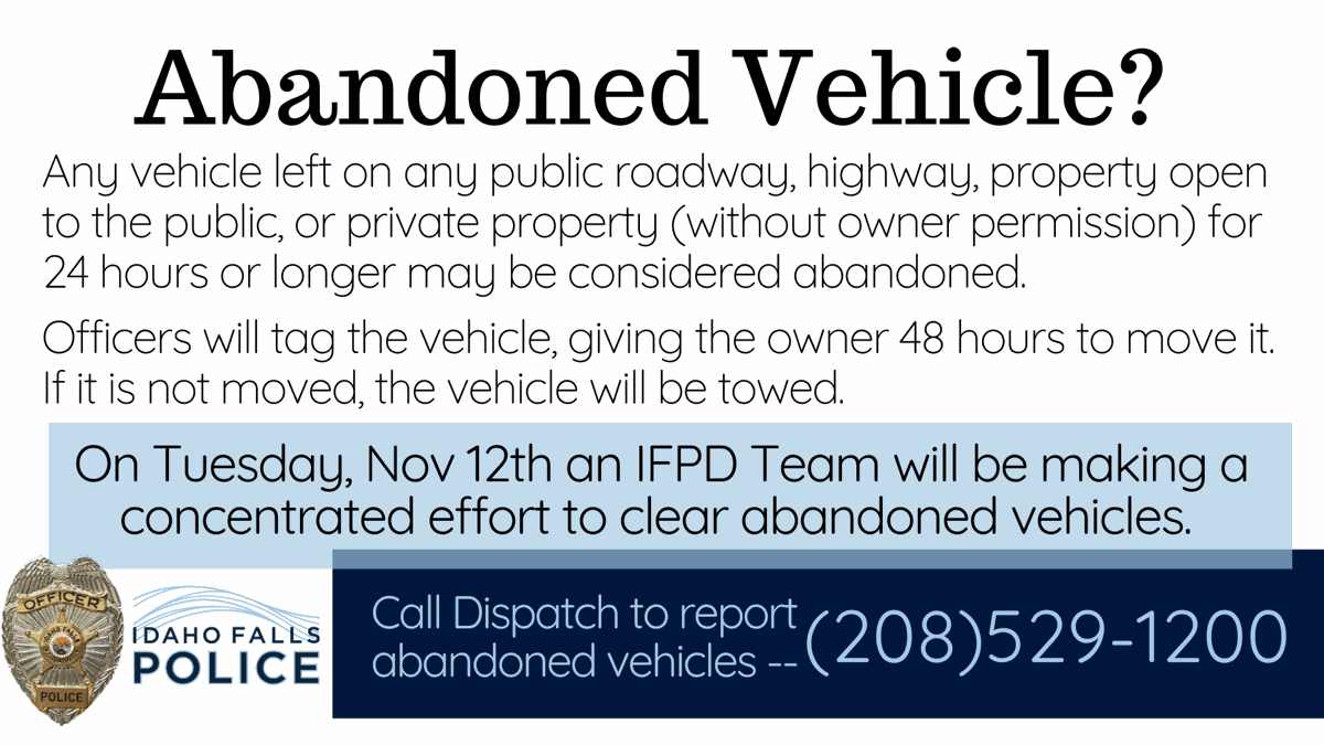 Idaho falls Abandoned Vehicle
