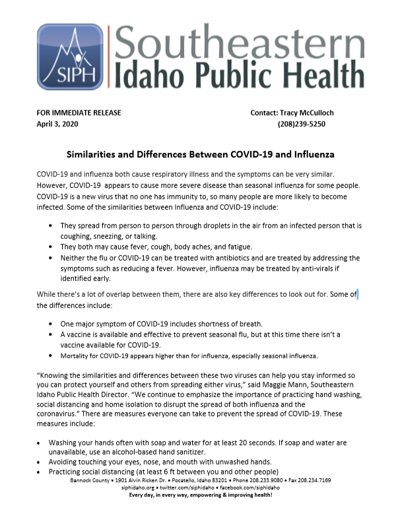 The Similarities and Differences Between COVID-19 and the Flu