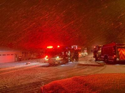 Local Firefighters Fighting House Fire