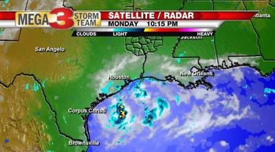 Satellite and Radar Image of a Tropical Low along the upper gulf coast