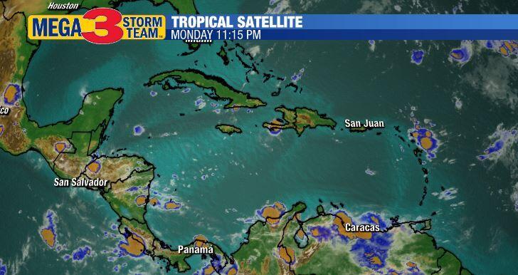 Satellite Image of the Caribbean Monday Evening