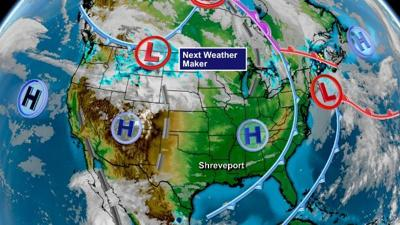Next Weather Maker for the ArkLaTex as of Tuesday Evening