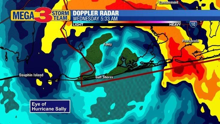 Radar Image of Hurricane Sally at Landfall early Wednesday Morning