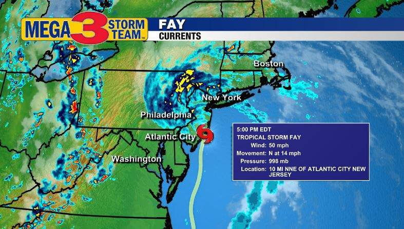 5 p.m. EDT Currents on Tropical Storm Fay from the National Hurricane Center