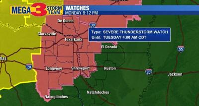 Severe Storm Watch for the ArkLaTex (Storm Prediction Center)