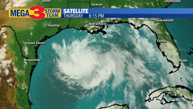 Satellite Image of Tropical Depression #8 in the Gulf of Mexico