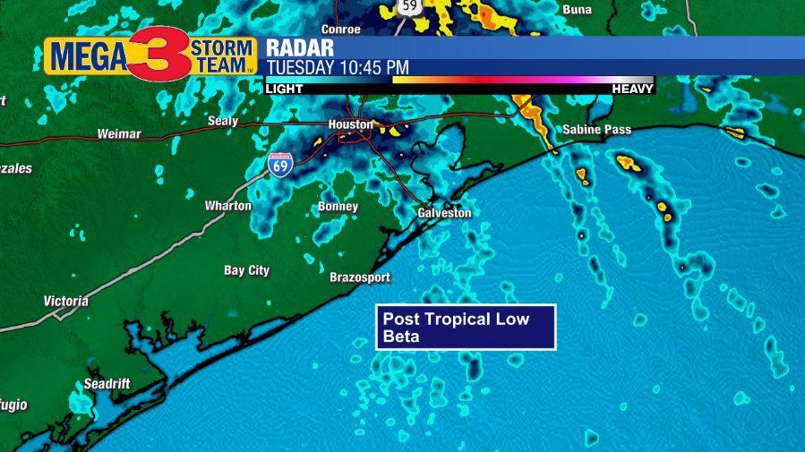 Radar Image of Post Tropical Low Beta