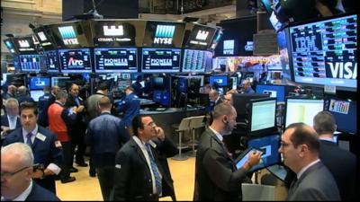 Wall Street trading generic shot