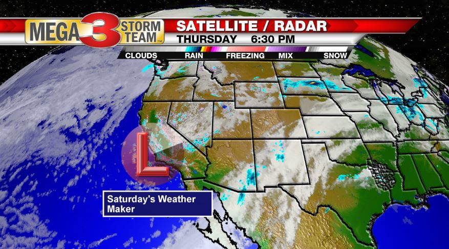 Thursday Evening location of our Next Weather Maker forecast for Saturday