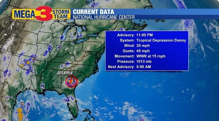 Danny Stats from the National Hurricane Center