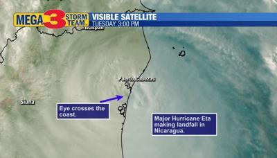 Visible Satellite Image of Major Hurricane Eta at Landfall Tuesday Afternoon