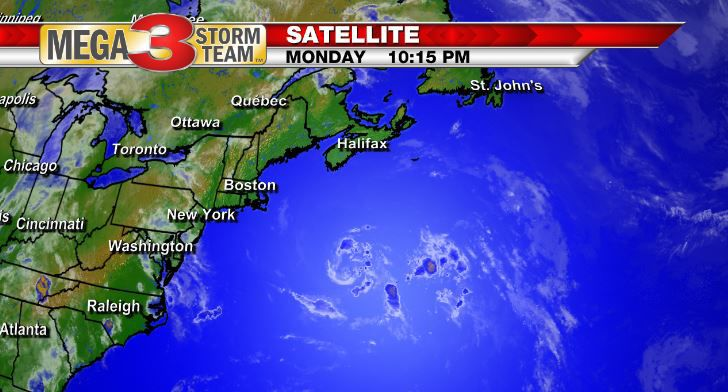 Sub-Tropical Depression #4 in the north Atlantic Monday evening