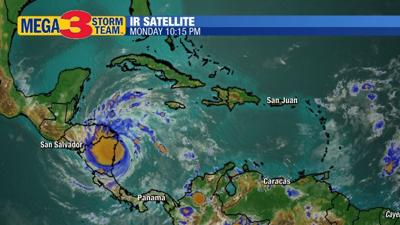 Satellite Image of Major Hurricane Iota Monday Evening