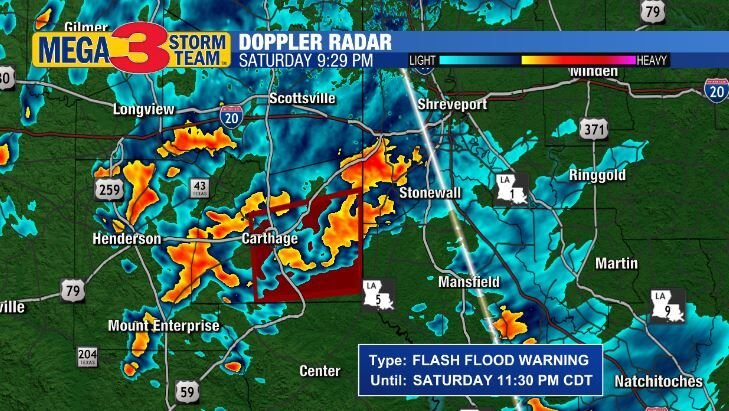 Flash Flood Warning for Panola County during Saturday Evening
