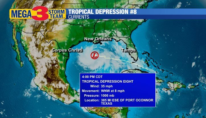 Tropical Depression #8 Currents from the National Hurricane Center