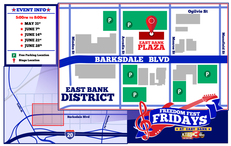 Freedom Fest Fridays at East Bank map