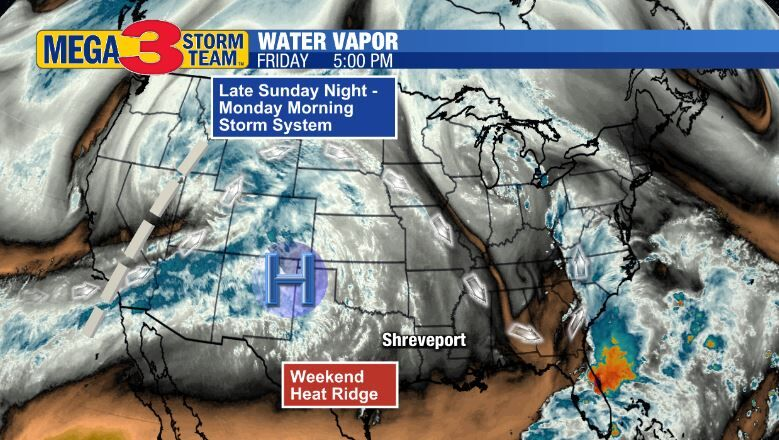 Water Vapor Image of the Sunday Night Storm System