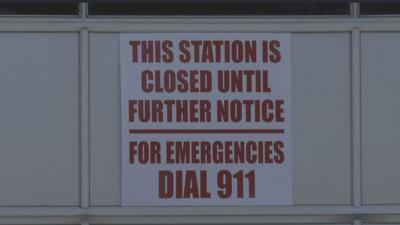 closed sign at fire station