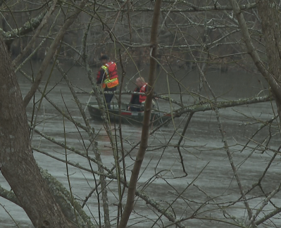 Search crew on water of Galloway Blvd.
