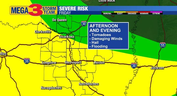 Severe Storm Risk for Friday Afternoon and Evening (Storm Prediction Center)