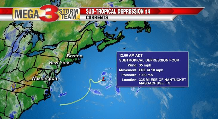 Sub-Tropical Depression #4 Currents Monday evening from the National Hurricane Center
