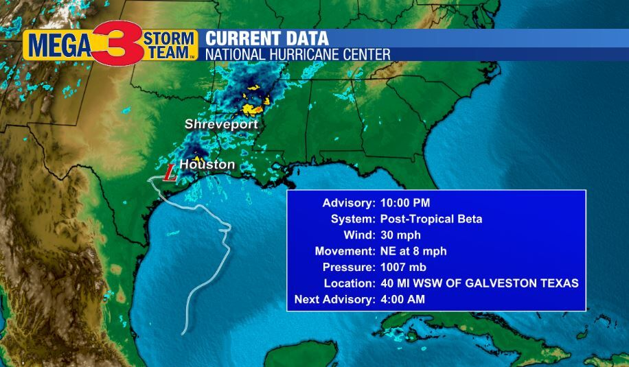 Post Tropical Low Beta Info from the National Hurricane Center