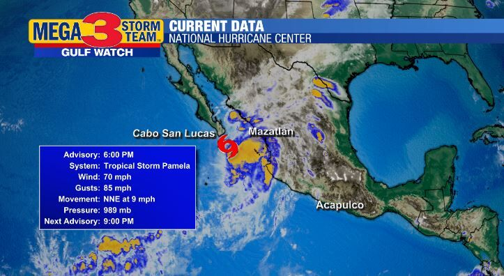 Current Conditions for Tropical Storm Pamela (National Hurricane Center)
