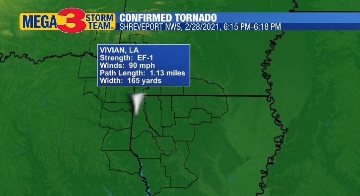 Vivian Confirmed Tornado from Sunday Evening, 2/28/2021