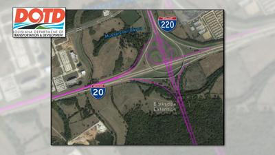 Gov. Edwards requests bonds to fund $100M I-20/220 ... on interstate 526 map, new jersey route 1 map, interstate 80 map, interstate 44 map, interstate 27 map, interstate 75 map, interstate highway map, interstate 70 map, interstate 25 map, interstate 85 map, interstate 26 map, lincoln way map, interstate map of mississippi and alabama, us highway 78 map, interstate 30 map, interstate 422 map, interstate 10 map, interstate 74 map,