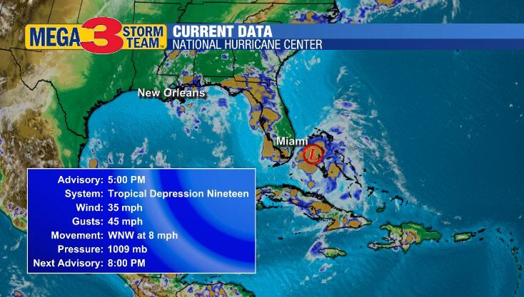 Tropical Depression #19 Currents from the National Hurricane Center