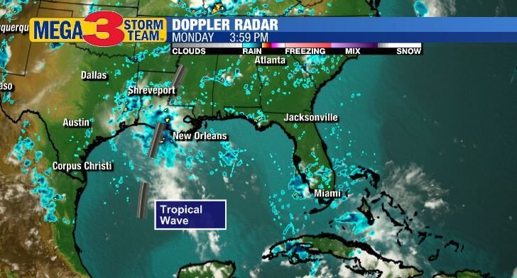 Satellite and Radar image showing a Tropical Wave over Louisiana
