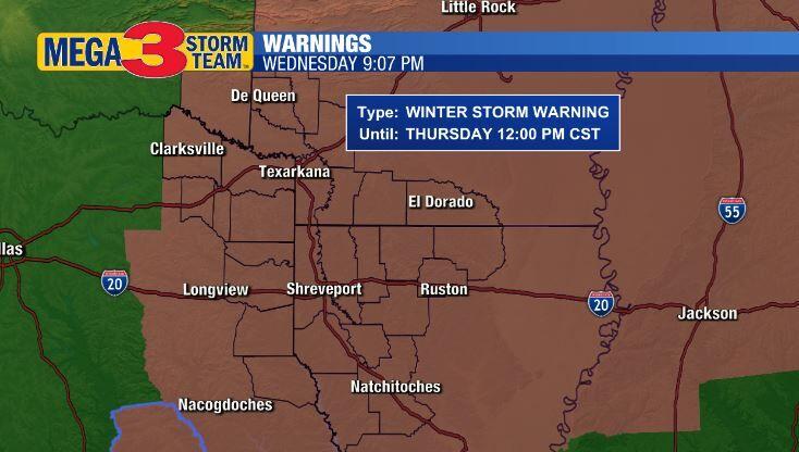 Winter Storm Warning (Shreveport National Weather Service)