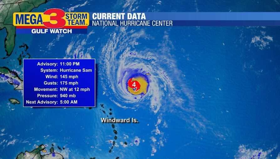 Current Stats on Sam from the National Hurricane Center