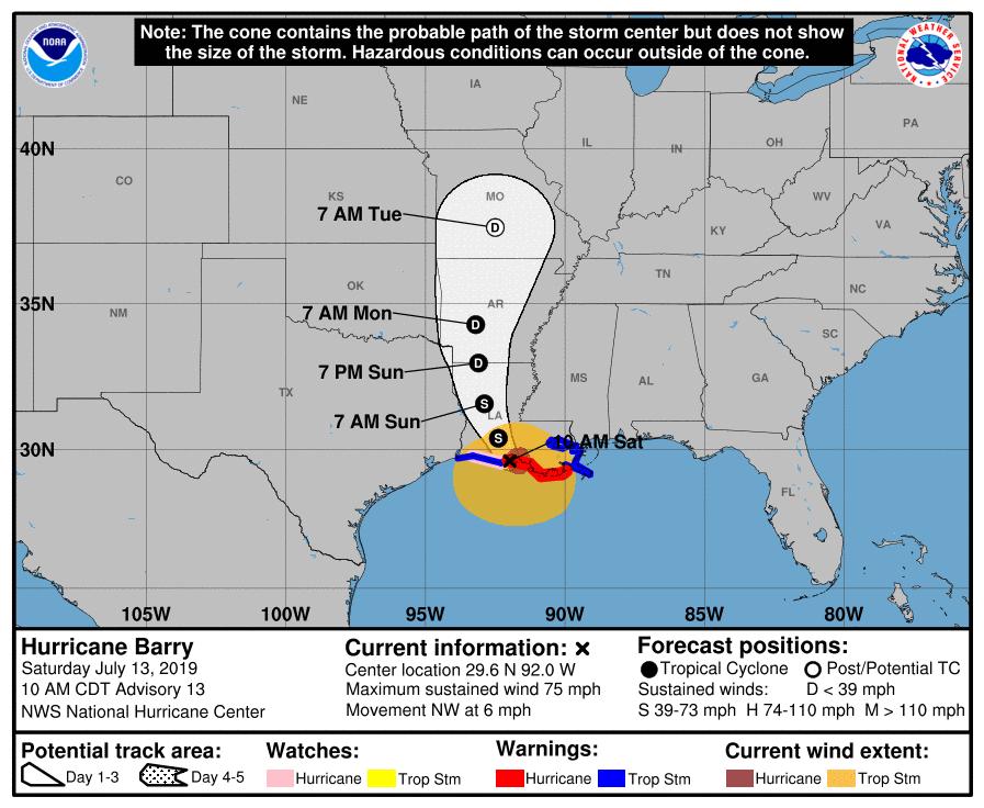 Hurricane Barry Track 10am Sat