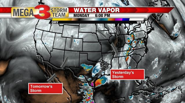 Water Vapor Image showing previous and next storm systems