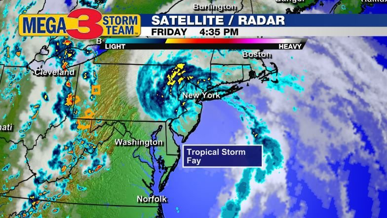 Satellite and Radar Image of Tropical Storm Fay on Friday Afternoon