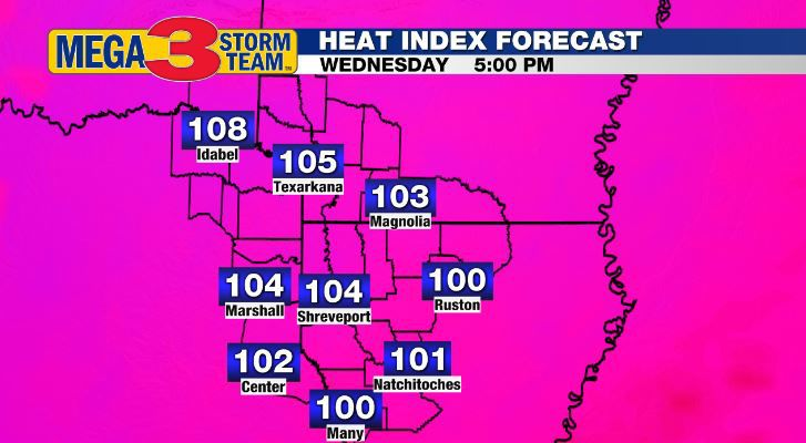 Heat Index Forecast for Wednesday Afternoon