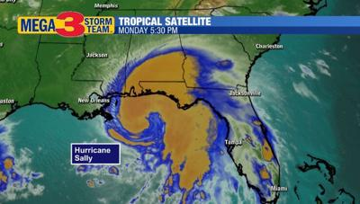 Hurricane Sally Monday Afternoon in the northern Gulf of Mexico