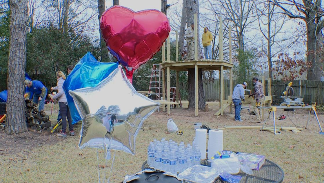 Shreveport volunteers build Make-A-Wish treehouse for young cancer patient
