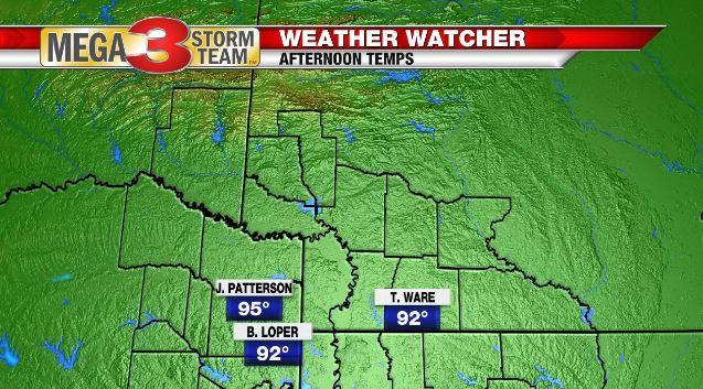 Northern ArkLaTex Weather Watcher High Temperatures for 6/21/19
