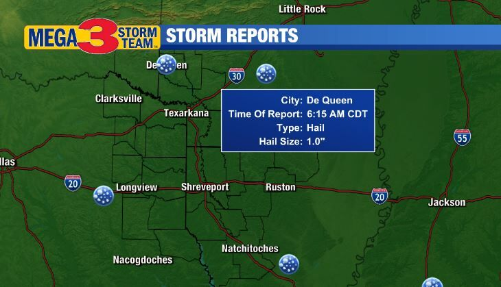 Storm Reports across the ArkLaTex on Wednesday