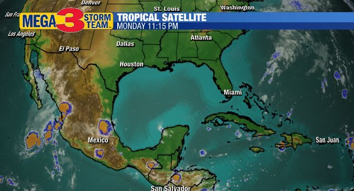 Satellite Image of the Gulf of Mexico Monday Evening
