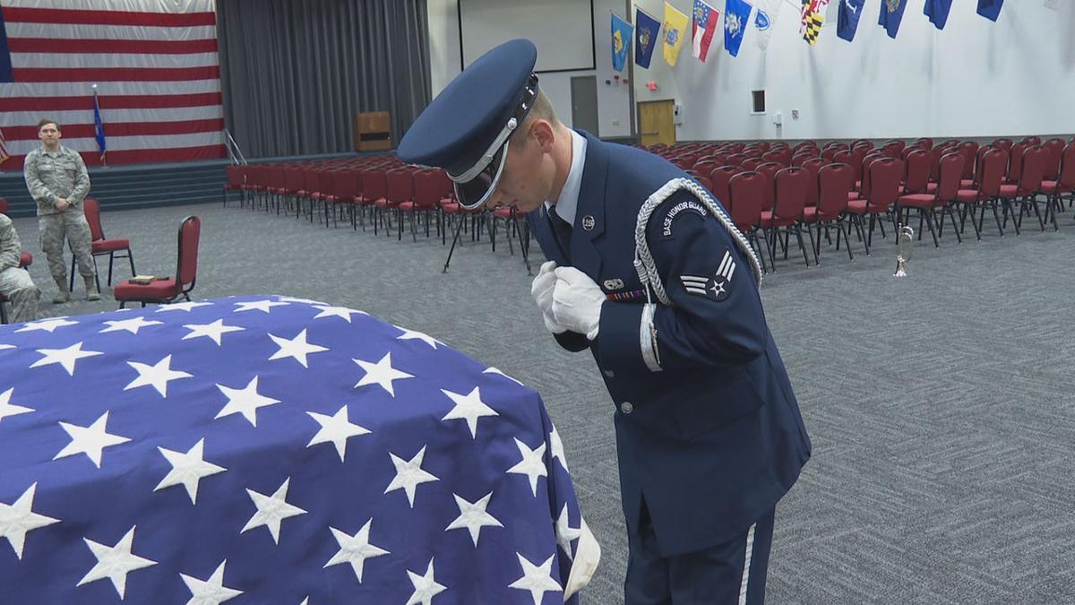 BAFB honor guard training - bowing at casket