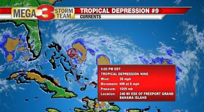 Tropical Depression Nine Info from the National Hurricane Center
