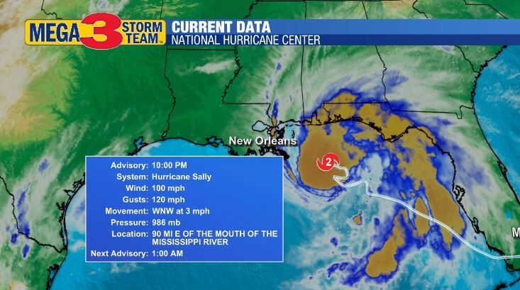 Current Information about Hurricane Sally on Monday Evening