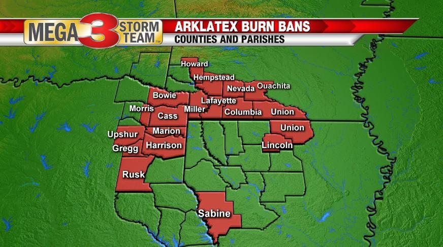 ArkLaTex Burn Bans as of 9-12-19