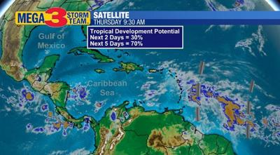 Possible Tropical Trouble Thursday Evening near the Caribbean