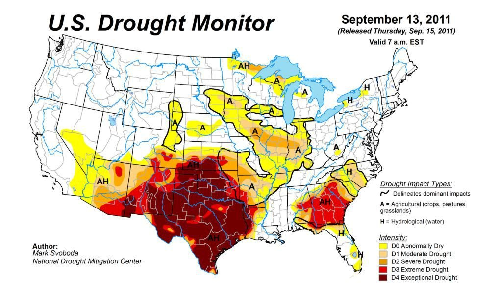 Drought Monitor showing Exceptional Drought in September of 2011